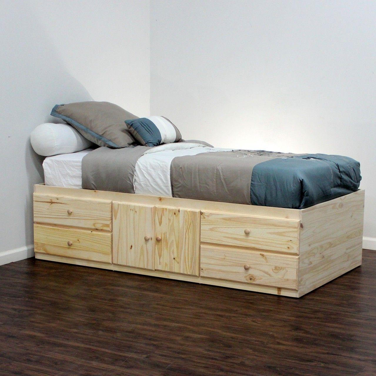 Extra Long Twin Storage Bed Birch Wood Twin storage