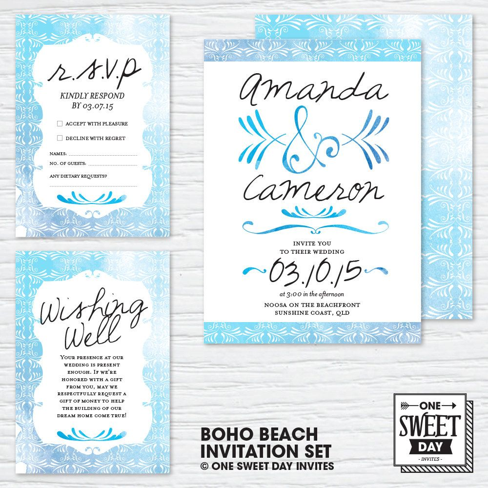 Wedding Invitations, Boho Beach Wedding, Bohemian, Unique, Printable ...