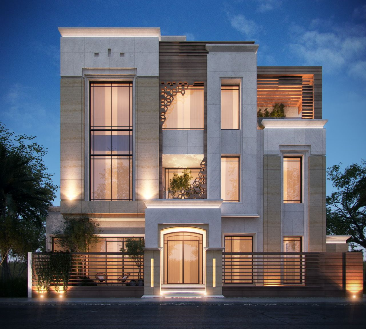 375 m private villa kuwait by sarah sadeq architects for Facade villa moderne
