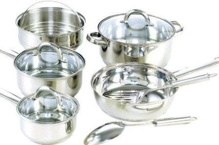 Amazon.com: Cook N Home 10 Piece Stainless Steel Cookware Set: Kitchen & Dining