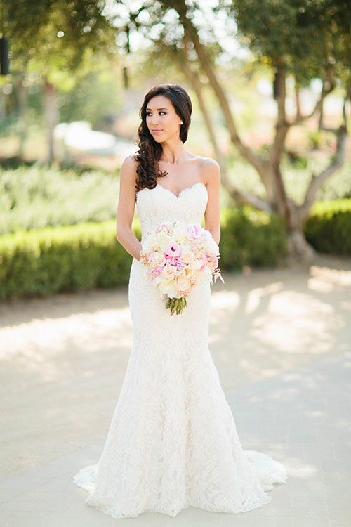 Julie and Max Palm Springs Wedding, Strapless Lace Ines Di Santo Wedding Dress | Brides.com