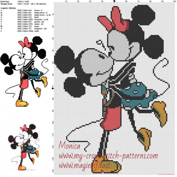 Mickey Mouse y Minnie patrones ponto de cruz | Miky | Pinterest ...