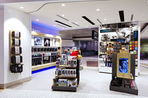 Tech2go flagship store, Sydney Airport. Interior design, graphic ...
