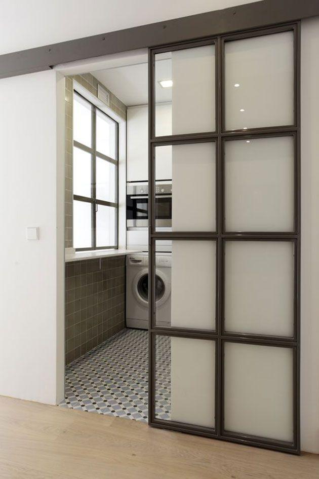Cerramientos interiores o paredes de metal con cuarterones - Puerta cocina cristal ...