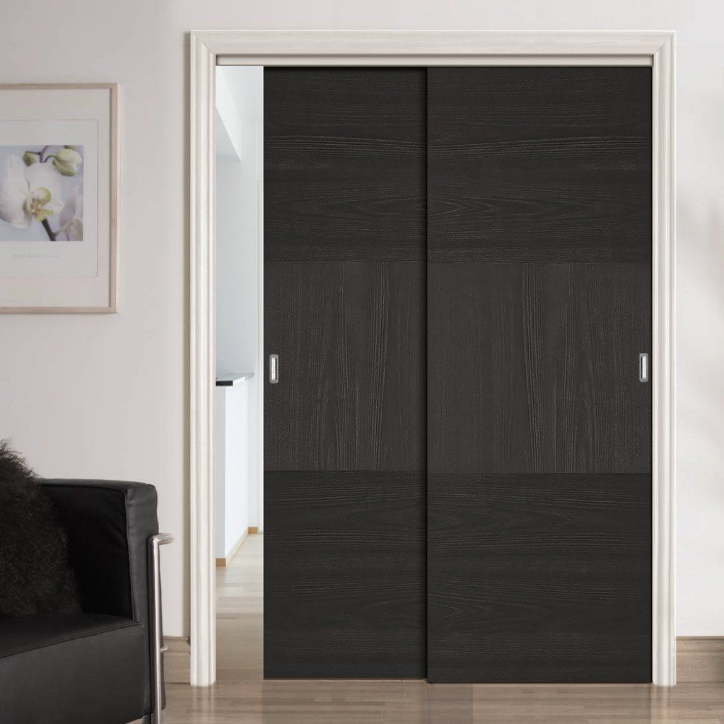 Two Sliding Doors And Frame Kit Tres Charcoal Black Flush Door Prefinished Wardrobe Doors Sliding Wardrobe Doors Sliding Wardrobe