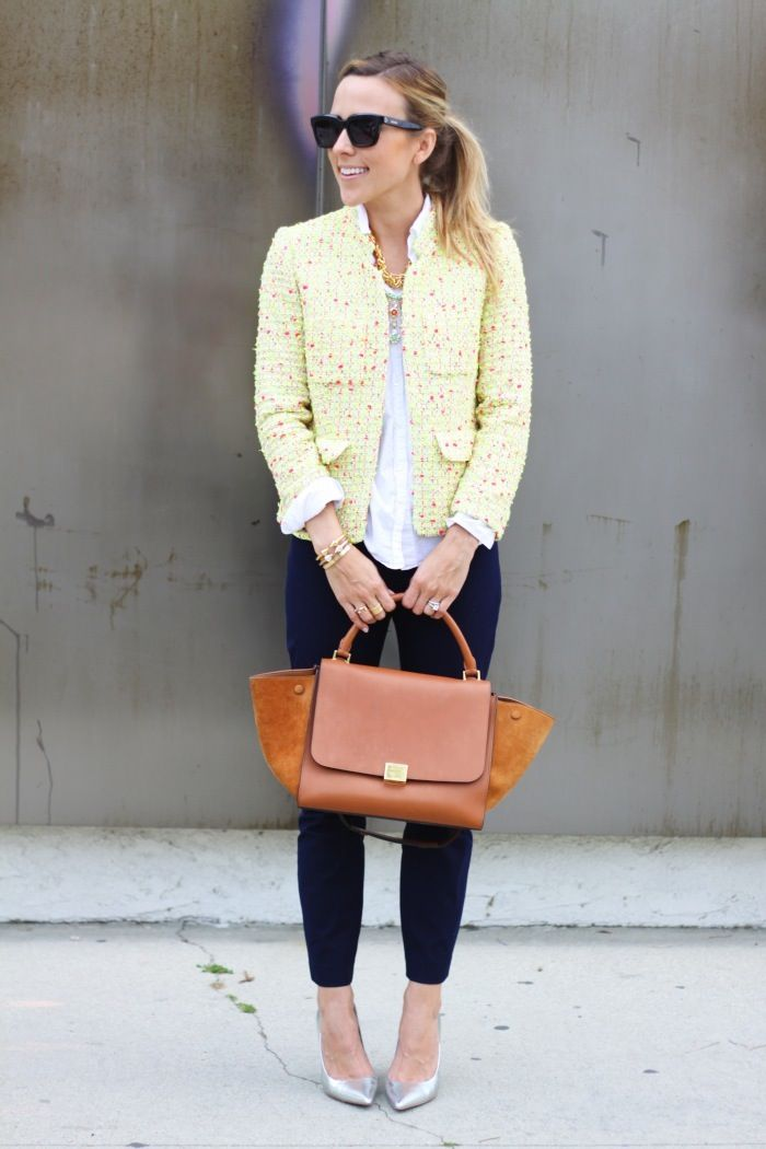 J.Crew Collection Neon Tweed Blazer - J.Crew Perfect Shirt in Linen - J.Crew Minnie Pant in Stretch Twill - Celine bag - Charles David heels