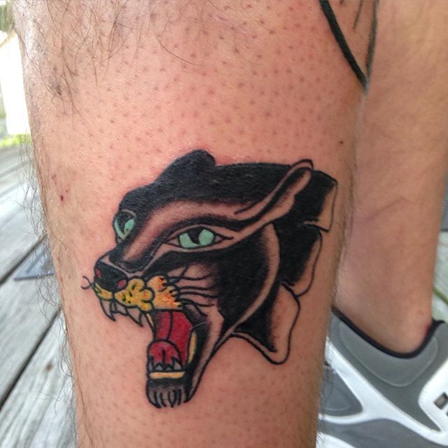 Panther head! More tattoos like this please #traditional #traditionaltattoo #apprenticetattoo #apprentice #tattoo #panther #panthertattoo #pantherhead #bobshaw