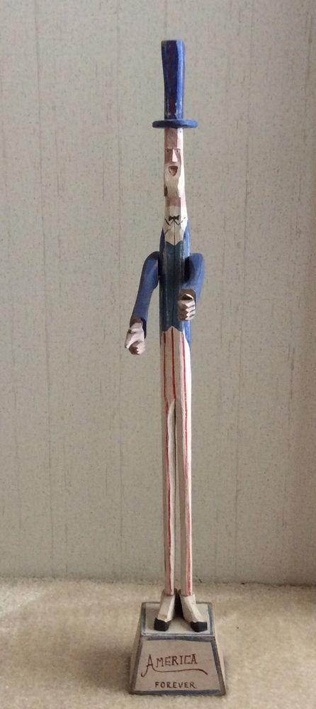 """Calif. Primitive Folk Art """"AMERICA FOREVER"""" Uncle Sam Hand Carved 34"""" Tall #NaivePrimitive"""