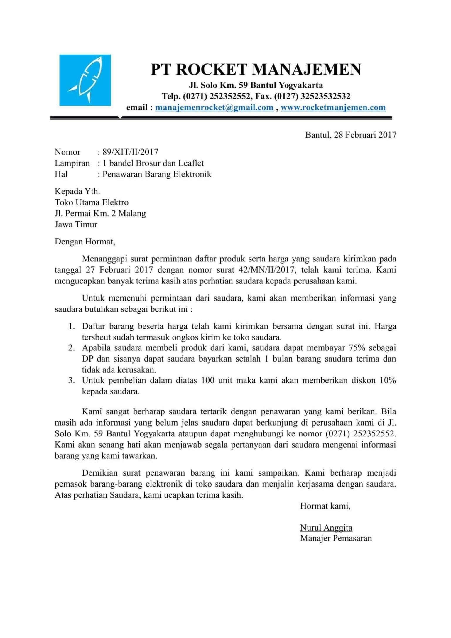 Contoh Surat Penawaran Produk Elektronik Document Pinterest