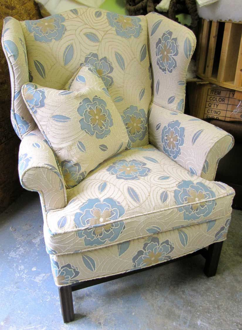 Diy Reupholstered Wingback Chair Before Amp After Fabric