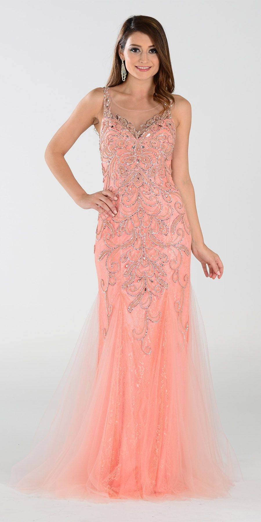 Poly USA 7322 Long Mermaid Prom Dress Coral Sleeveless | Hermosa y ...