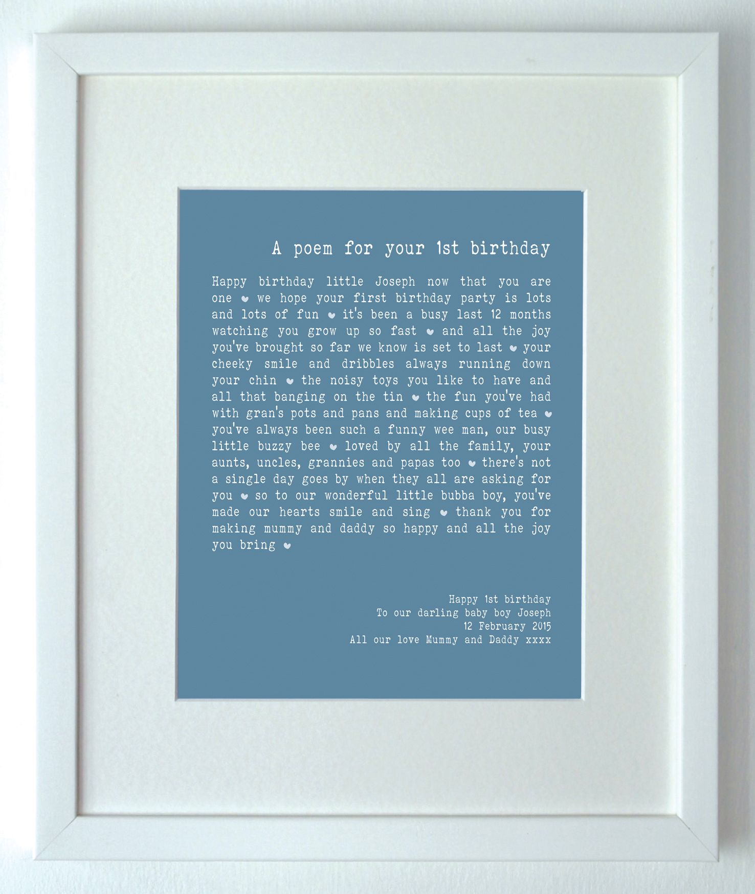 The Most Perfect 1st Birthday Gift A Personalised Poem Created Especially For Boy Or Girl And Lovely Keepsake