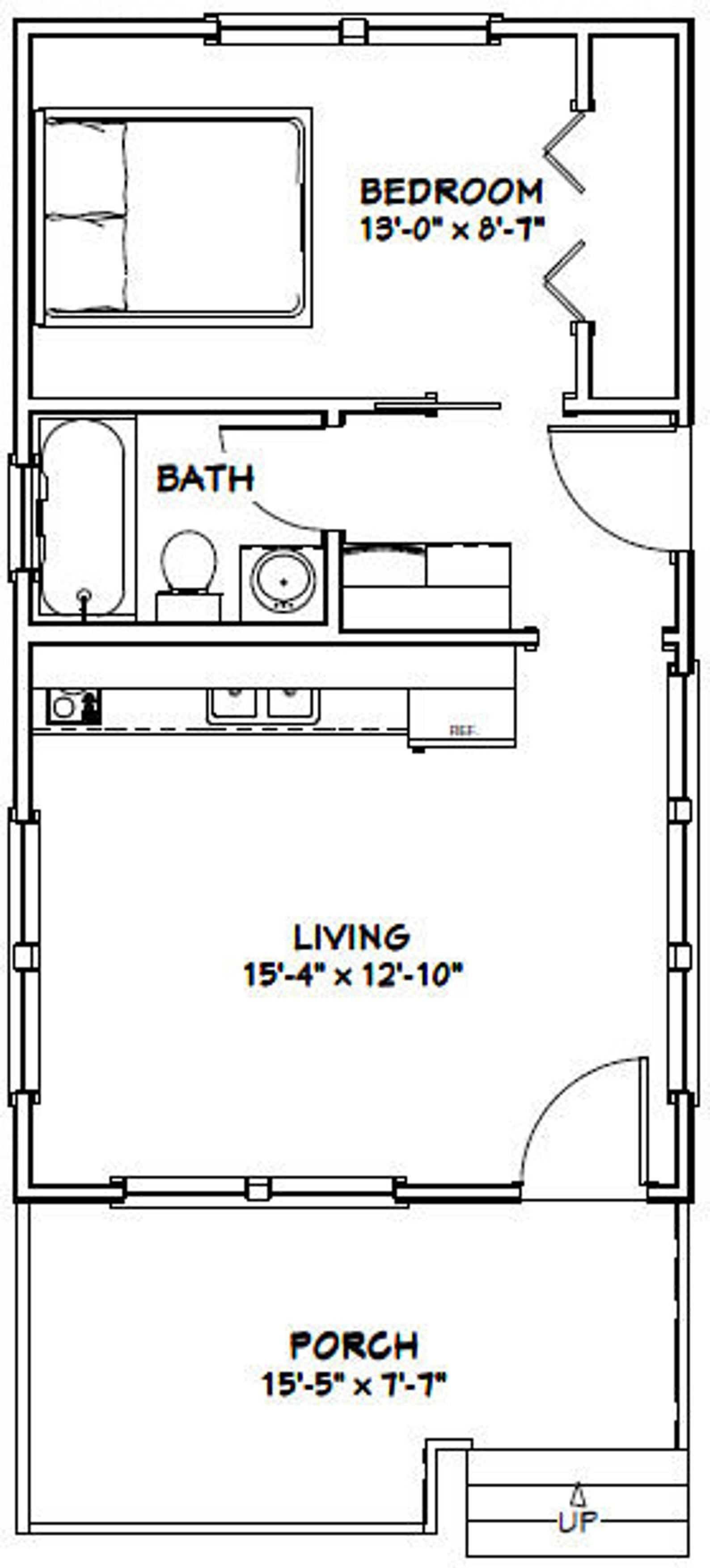 16x28 House 1 Bedroom 1 Bath 447 Sq Ft Pdf Floor Plan Instant Download Model 1e Tiny House Floor Plans Cabin Floor Plans House Plans