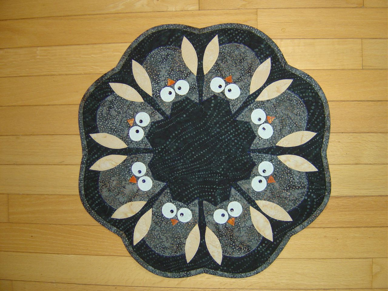 Batik Owls From Trouble Boo Designs Table Topper Pattern