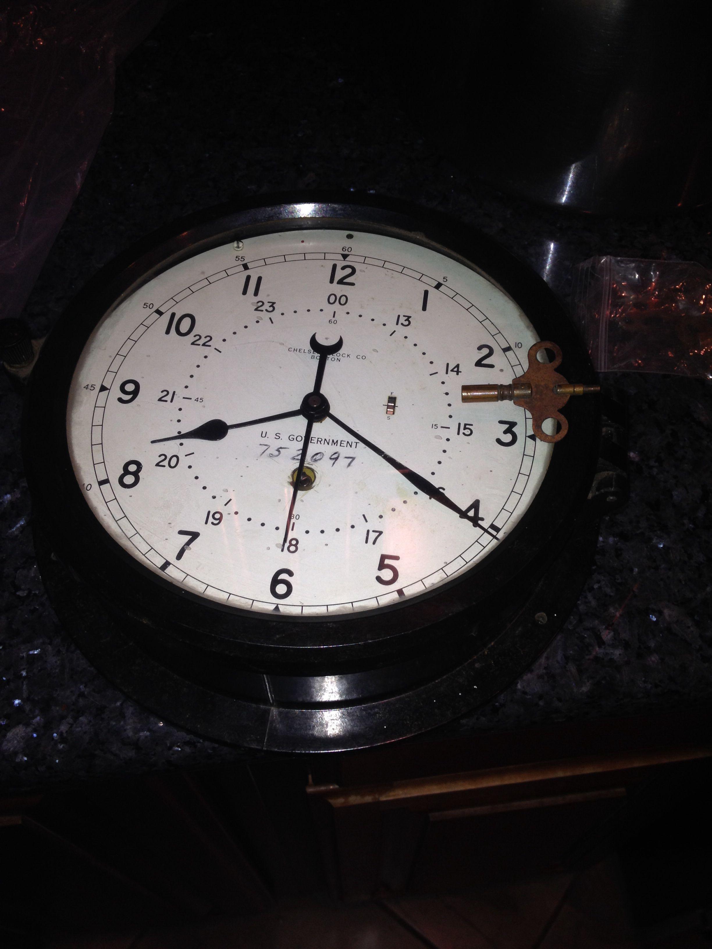 WW2 chelsea Boston clock. Bakelite wind up in perfect working ...