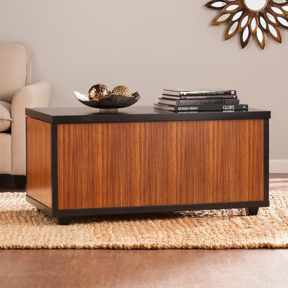 Southern enterprises marienne zebrawood trunk cocktail table
