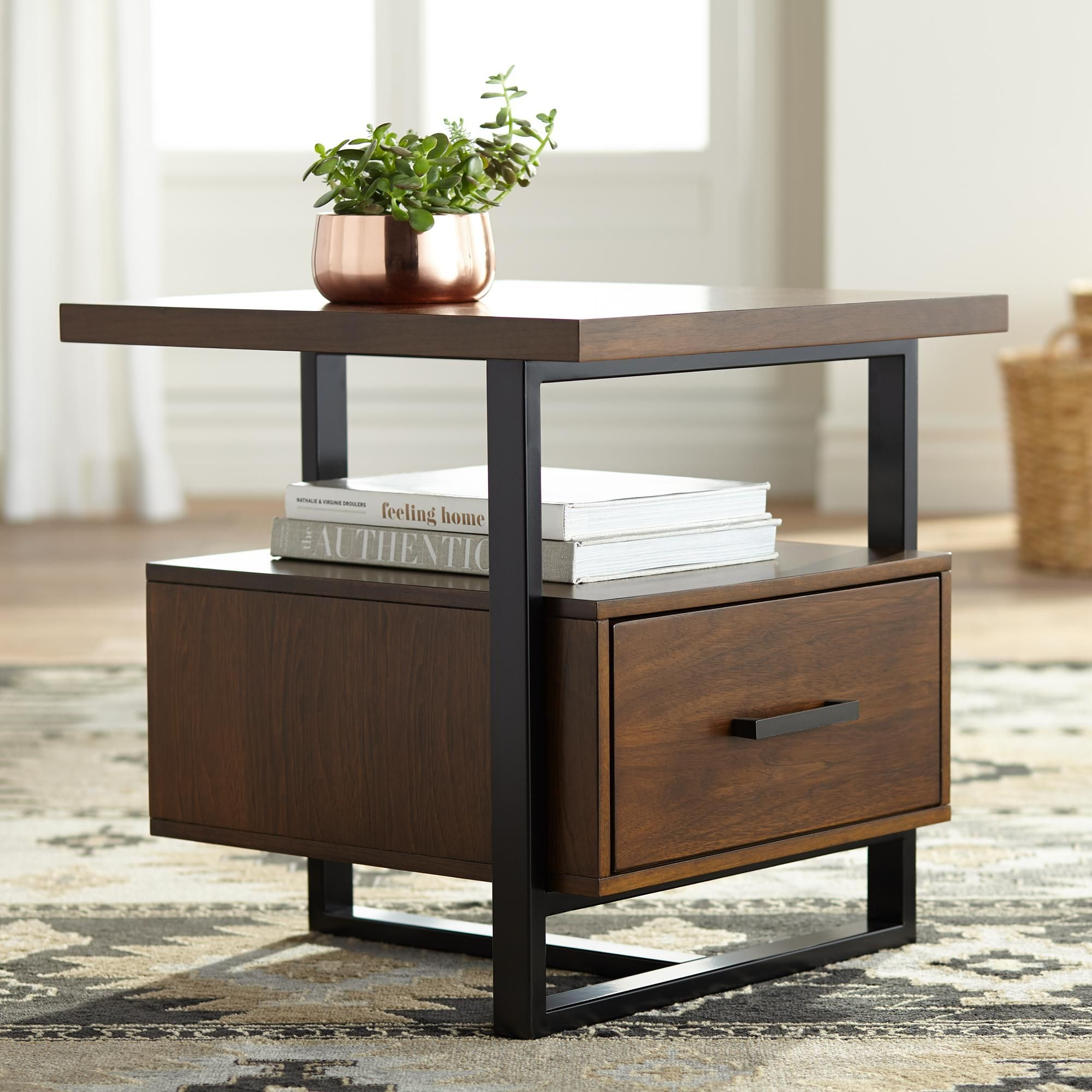 Tables Sedley 22 Wide Walnut 1 Drawer Modern End Table In 2020 Modern End Tables Modern Side Table Welded Furniture