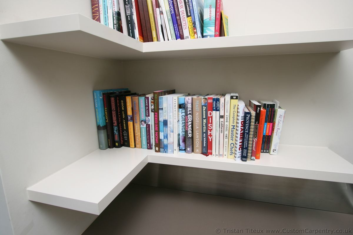 Beautiful Pure White L Shaped Floating Corner Book Shelves