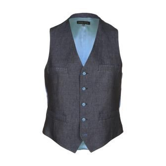 Holland Esquire Men's Herringbone Navy Blue Linen Waistcoat