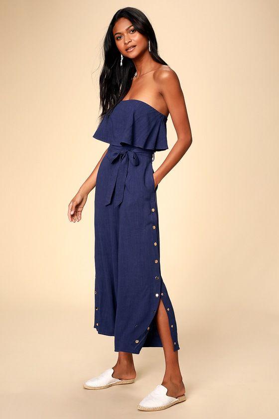 Lanah Navy Blue Strapless Jumpsuit #navyblueshortdress