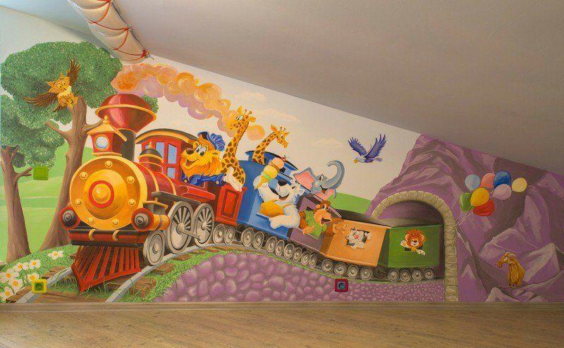 Fresque murale dans la chambre d\u0027enfant \u2013 35 dessins joviaux inspirants