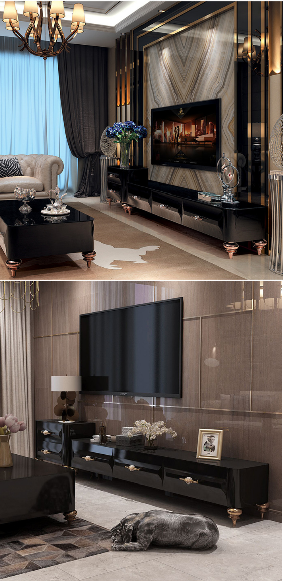 Luxury Marble Black Tv Stand Table For Living Room Reception Hotel Bedroom Tv Stand Tv In Bedroom Living Room Tv Unit Designs
