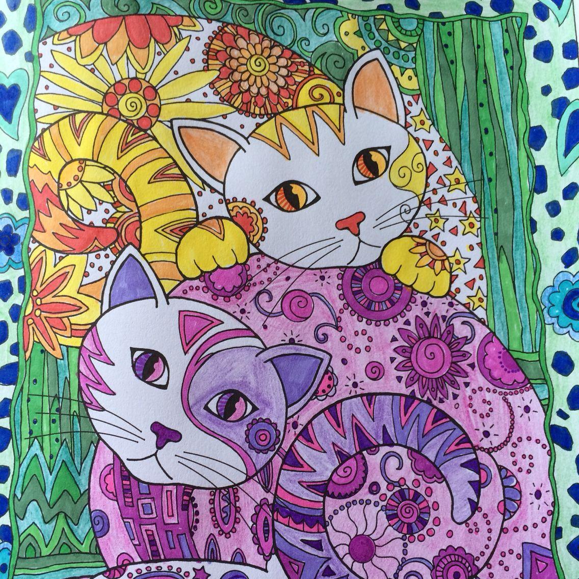 Twinsy Cat Coloring Pages Kleurboek Kunstjournaal Kleurrijk