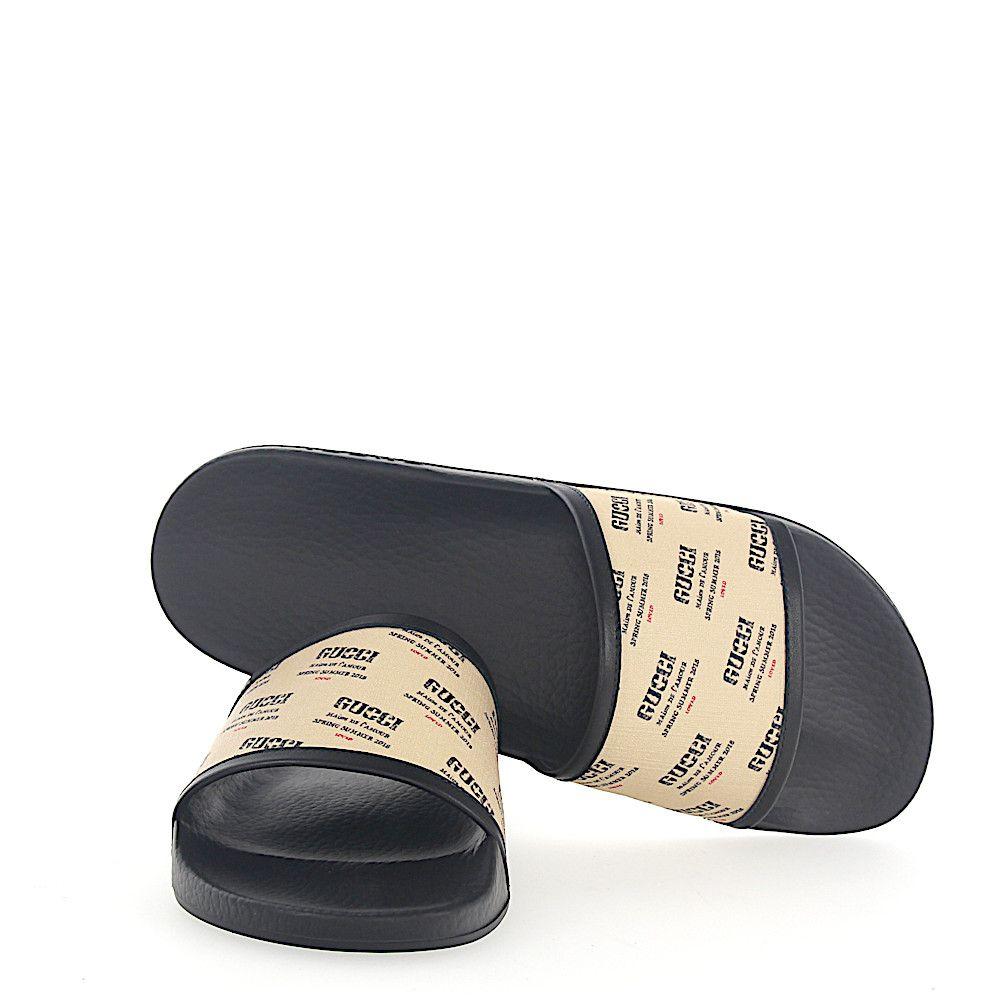 bd0b6cc1a GUCCI SANDALS SUPREME CANVAS LOGO PRINT BEIGE BLACK. #gucci #shoes ...