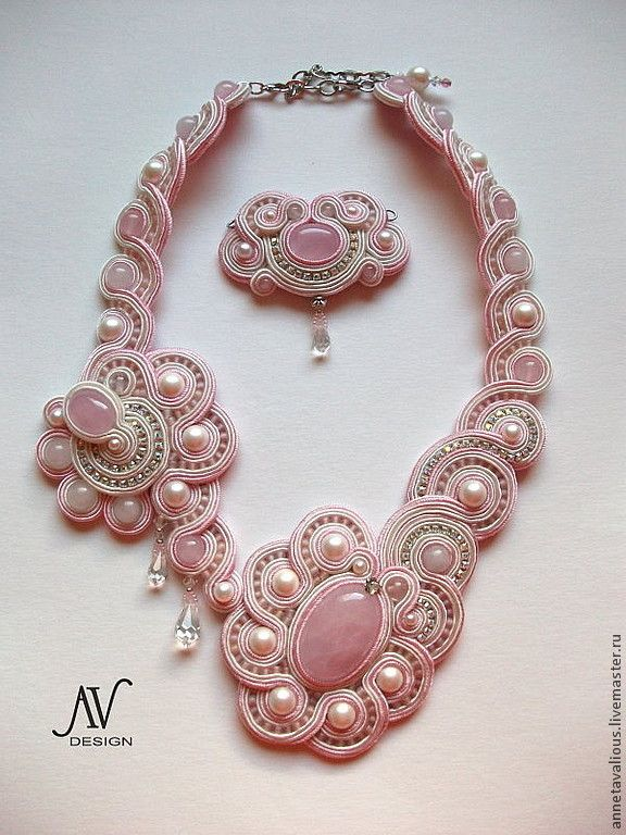 """Сутажное колье """"Эос"""" - розовый, розовый кварц, колье, белый жемчуг, кристаллы, свадьбаб handmade wedding necklace"""
