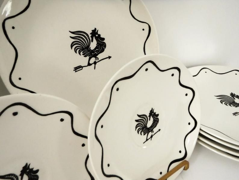 Royal China Daybreak Black Rooster Weather Vane On White Luncheon Plates And Saucers Black Rooster Vintage Dinnerware Etsy