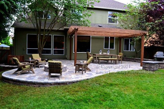 Paver Patio, Pergola, Fire Pit, Seat Wall, Lighting – contemporary ...