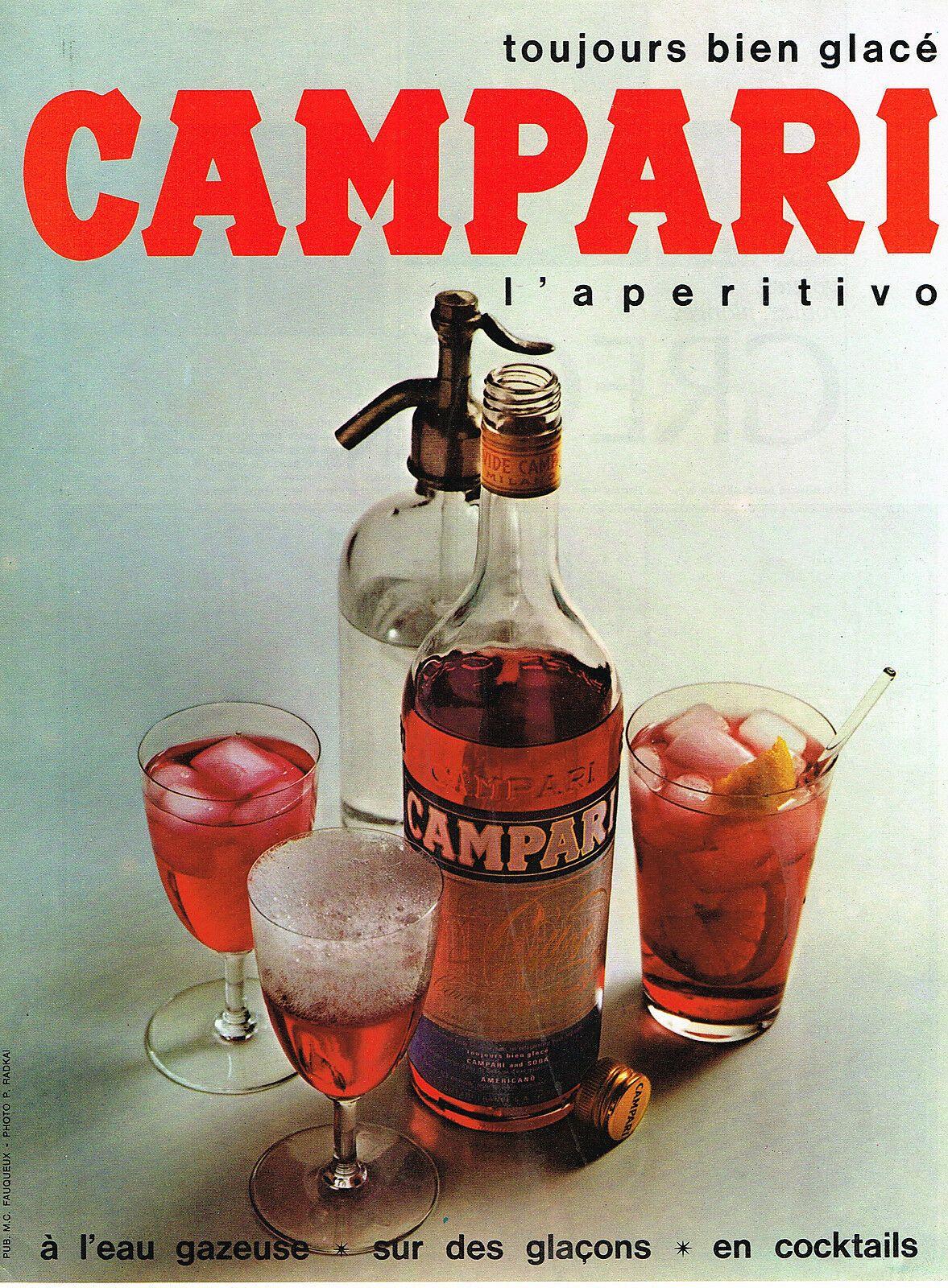 Vintage Italian Campari Color Print Advertisement Featuring A Bottle Of Campari Soda Bottle And Three Glasse In 2020 Campari Cocktails Vintage Advertisements Campari