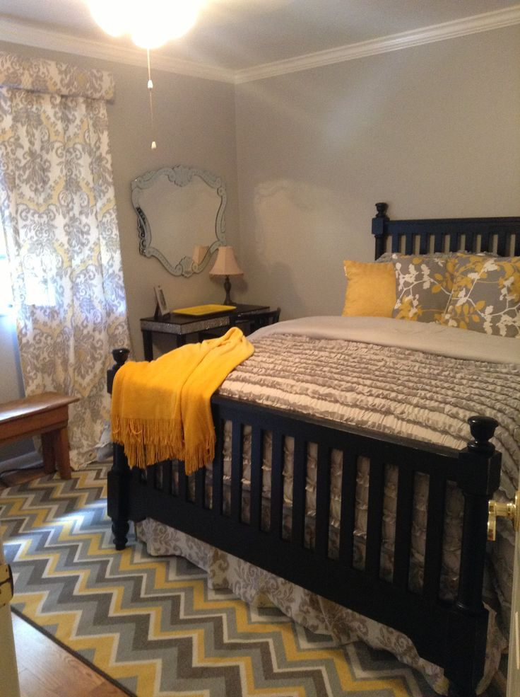 Pin By Amanda Janes On For The Home Pinterest Home Yellow Gray Bedroom Bedroom Styles