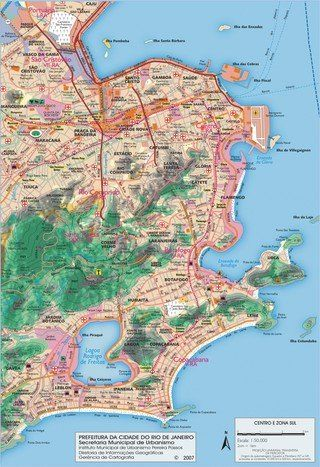 Map of Rio de Janeiro neighborhoods quarters Rio de Janiero BR