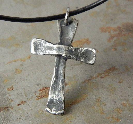 Mens Cross Necklace, Sterling Silver Pendant, Rustic Vintage
