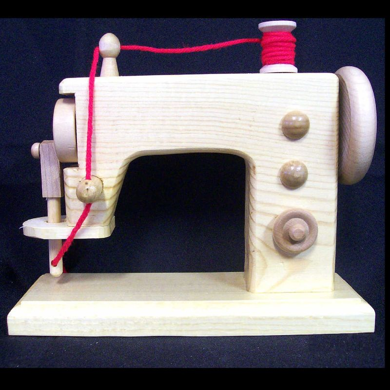 Toy Wood Sewing Machine Realistic Handmade Wooden Replica