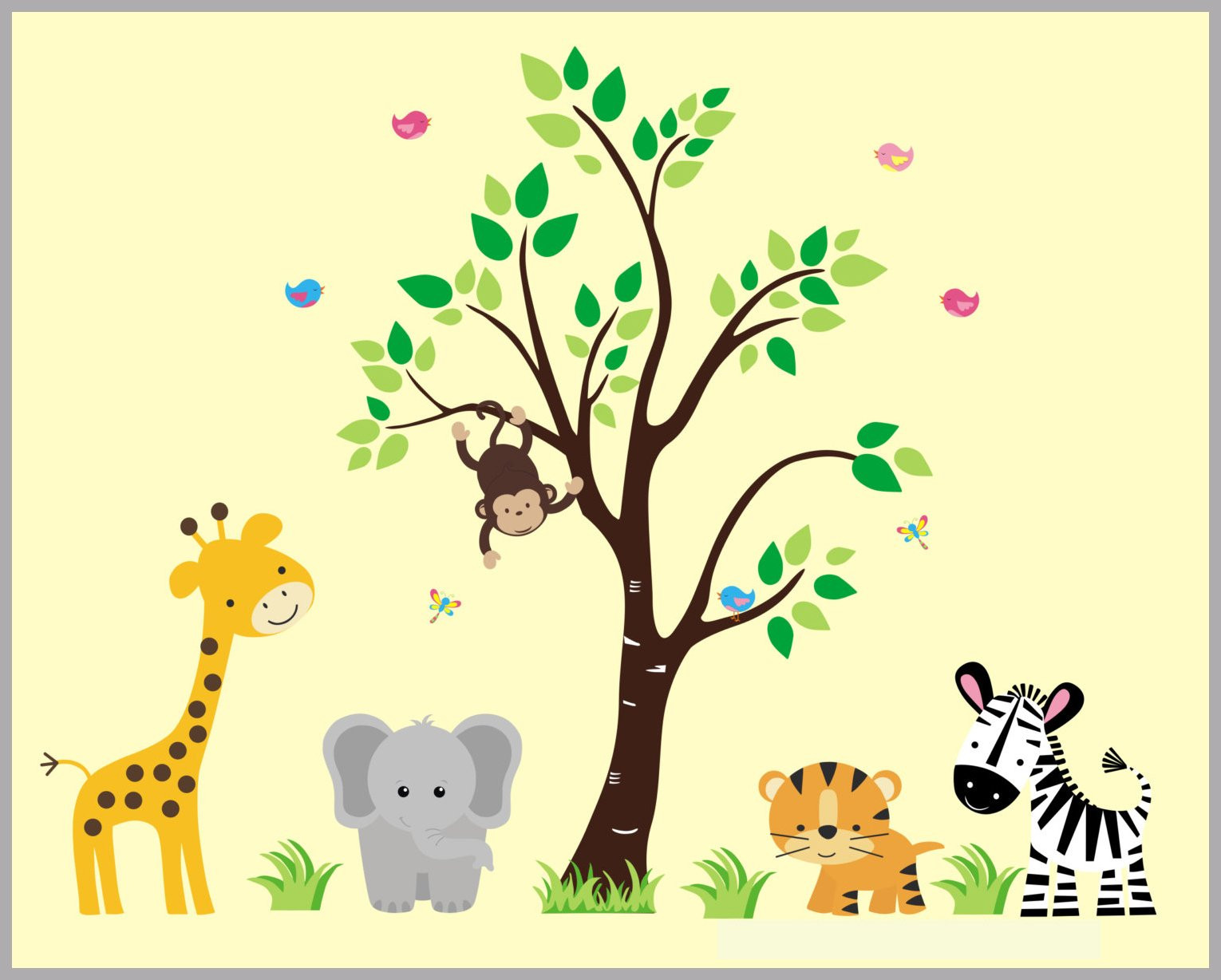 Nursery Wall Decals - Wall Decals Nursery - Safari Animal Decals ...