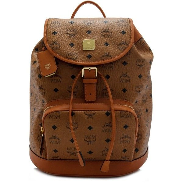 9b68da04ee9 MCM Heritage Backpack ( 1,090) ❤ liked on Polyvore featuring bags, backpacks,  brown, draw string backpack, mcm backpack, leather knapsack, leather  rucksack ...