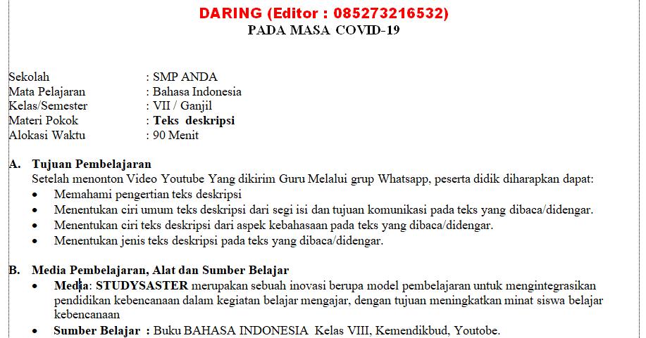 Rpp Daring Bahasa Indonesia Kelas 7 Semester 1 Dan 2 Teks Bahasa Belajar