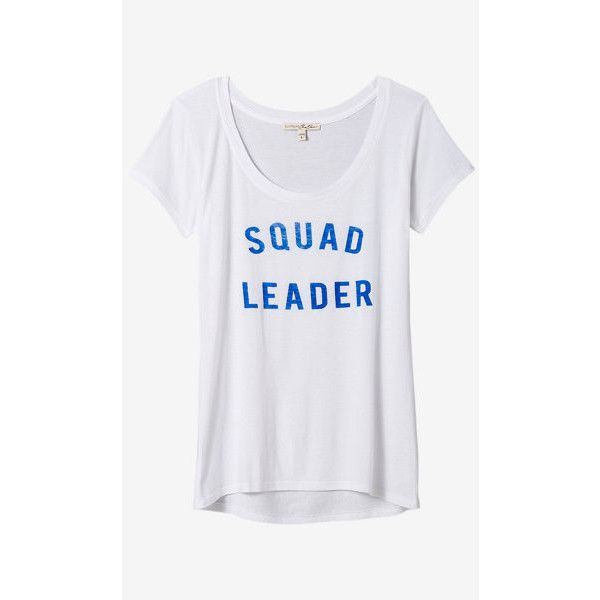 Express One Eleven Squad Leader Graphic T-shirt ($20) ❤ liked on Polyvore featuring tops, t-shirts, white, white graphic tee, white scoop neck tee, express t shirts, scoop-neck tees and white t shirt