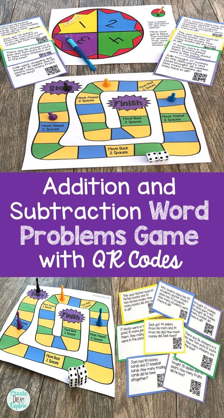 Addition and Subtraction Word Problems Game   Word problems, Qr ...
