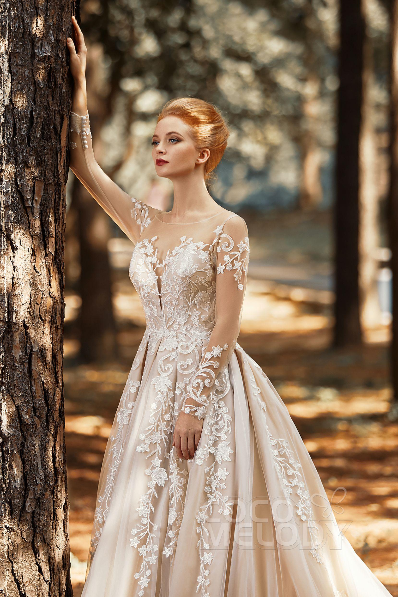 [ USD 799 ] ALine Bateau Long Sleeve Wedding Dress