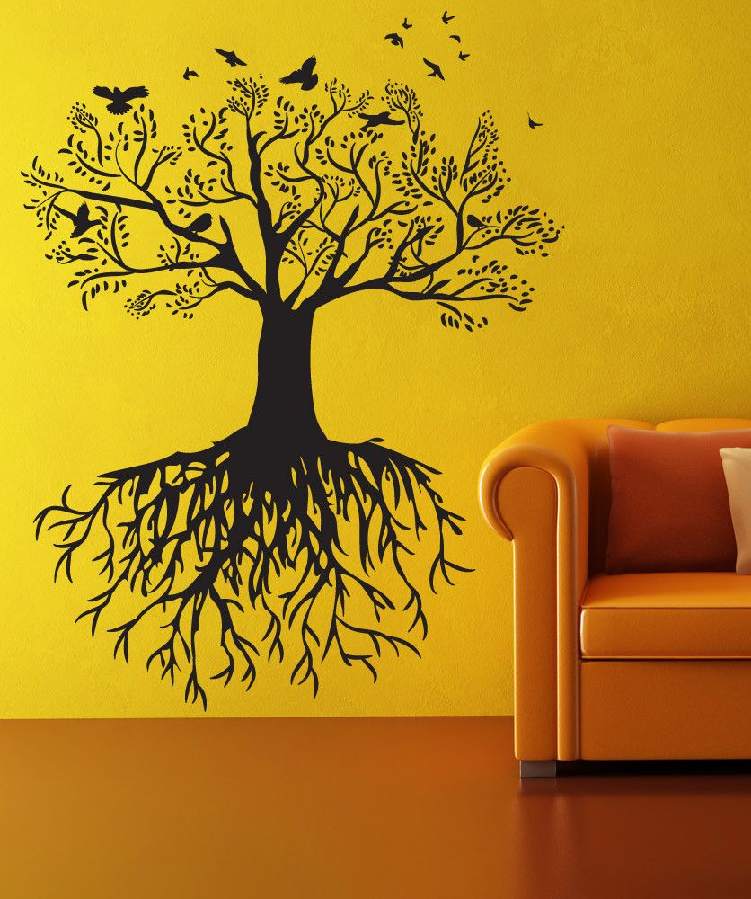 Vinyl Wall Decal Sticker Tree with Birds #OS_DC176 | Wall decal ...
