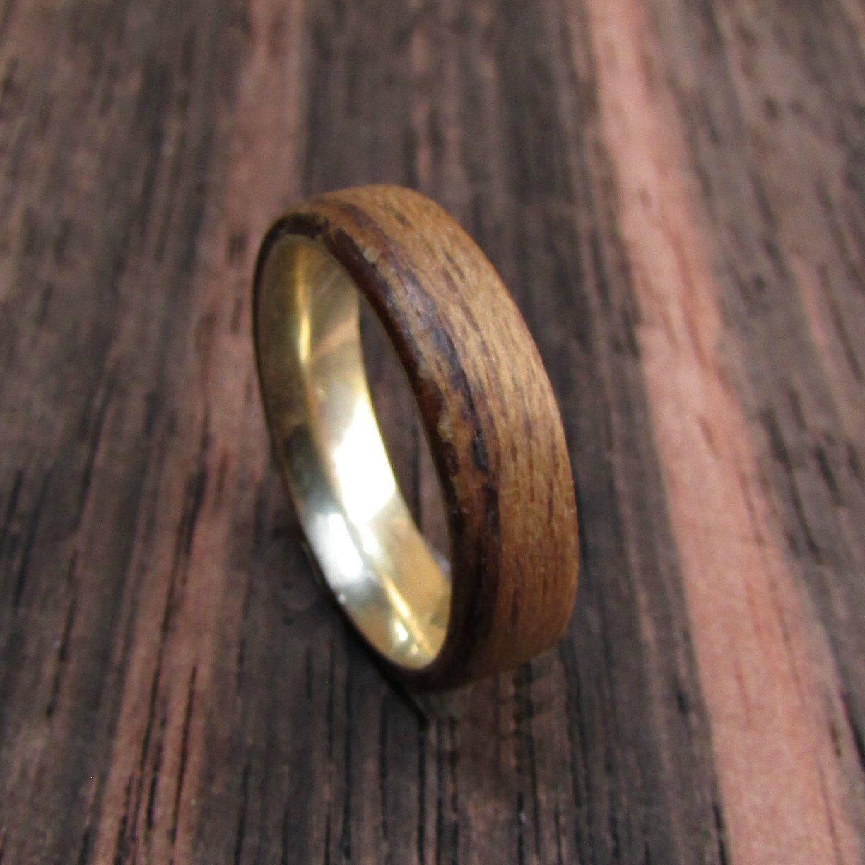 Rustic 14k Gold And Teak Wood Wedding Band Alternative Mens