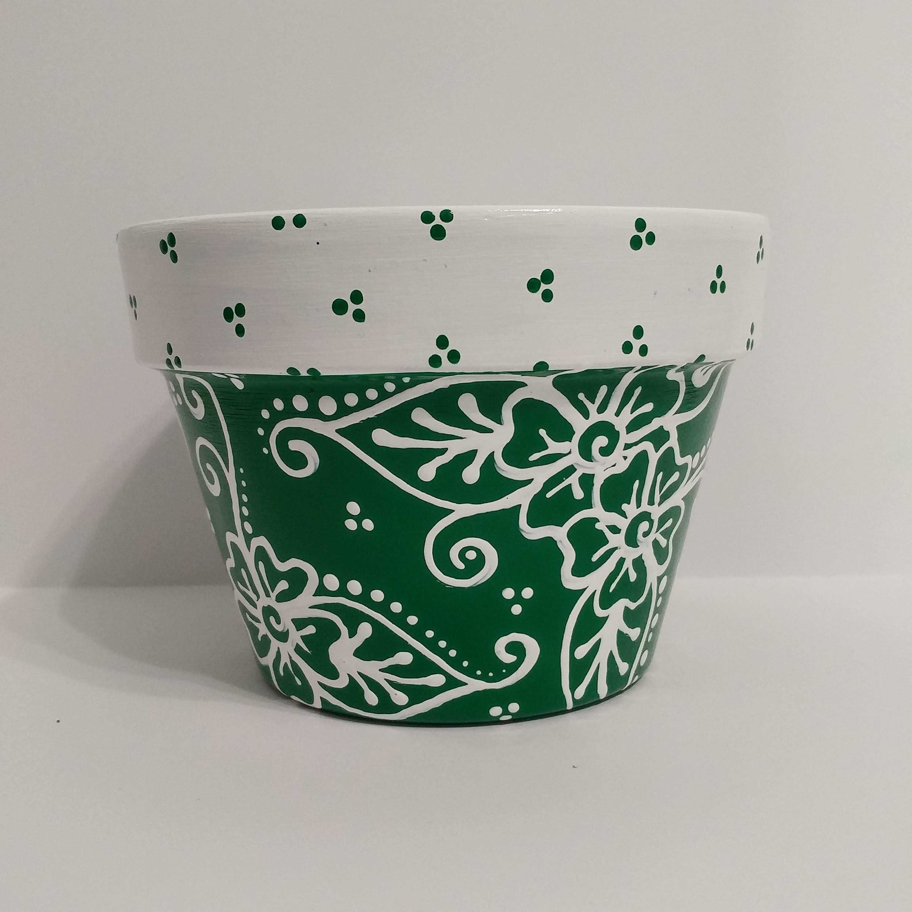 Medium Wide Mouthed Terra Cotta Flower Pot Hand Painted Dark Green With Free Hand White Flowers And Coordinat With Images Terracotta Flower Pots Flower Pots White Flowers