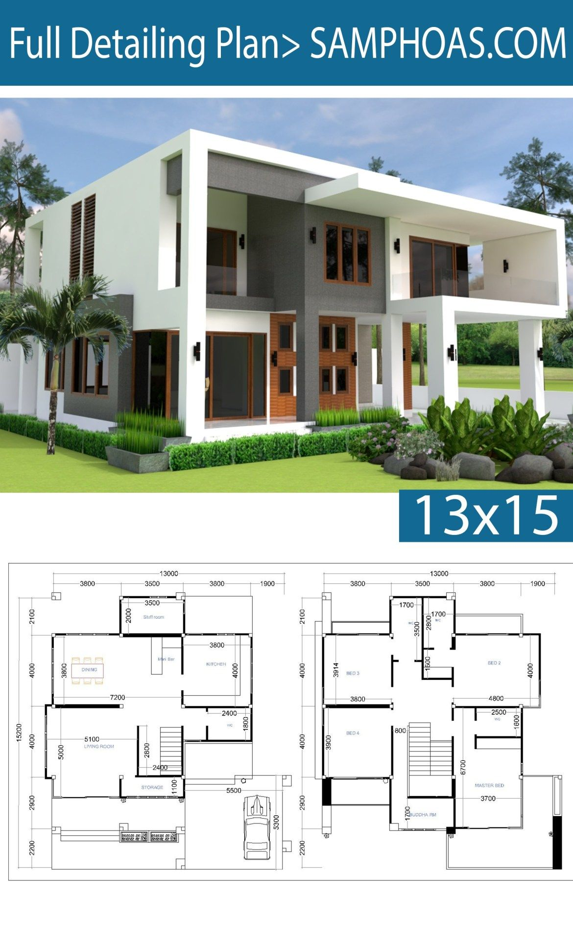 Modern 4 Bedrooms House Plan 13x13m Samphoas Plansearch 4 Bedroom House Plans Model House Plan Bungalow House Plans