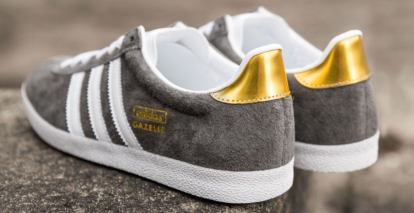pretty nice 2429d d6aa4 Adidas Gazelle grey gold Mais