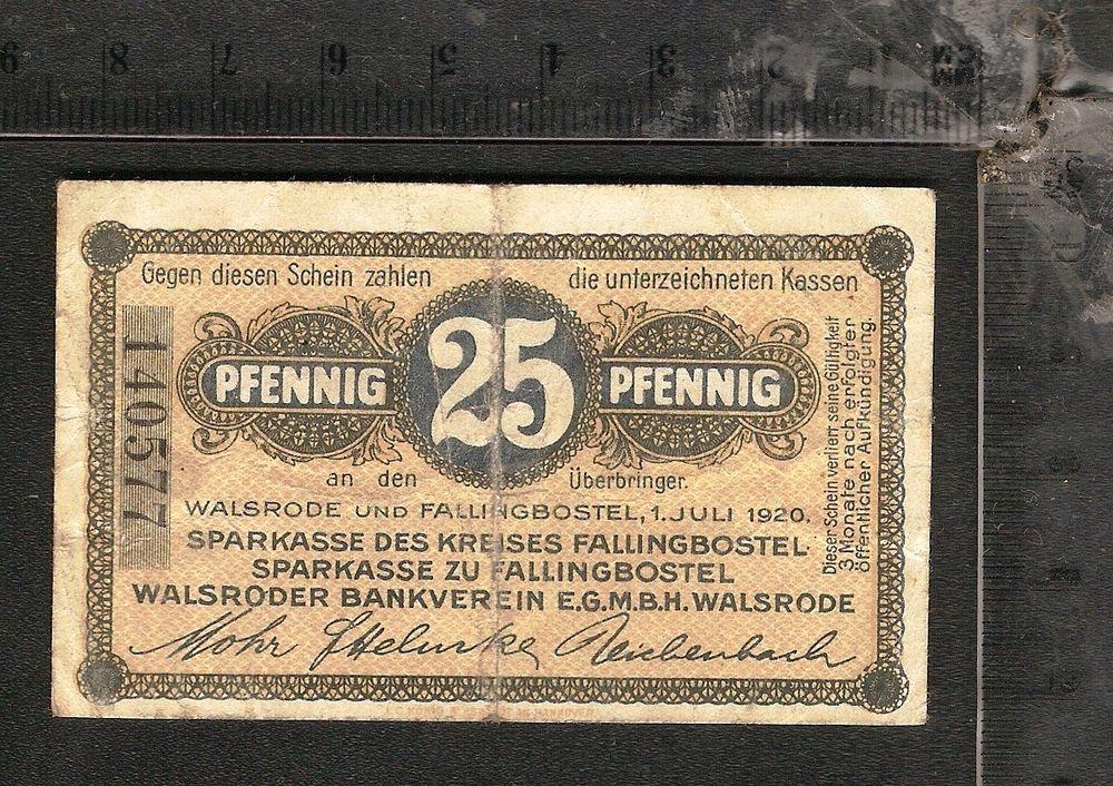 Germany Notgeld Walsrode Und Fallingbostel 25 Pfennig 1920 4 Money Paper Money Bank Notes
