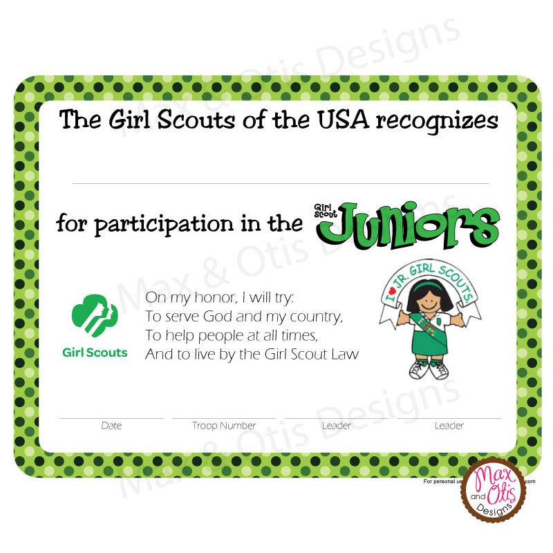 image about Girl Scout Certificates Printable Free titled Female Scout Junior Printable Participation Certification