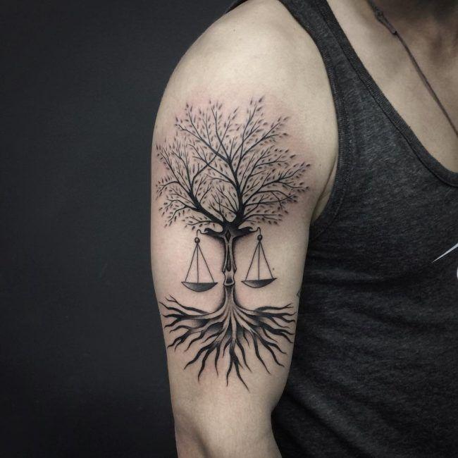 Libra Tattoos Designs Ideas And Meaning: Tree Of Life/Libra Scale Tattoo Idea